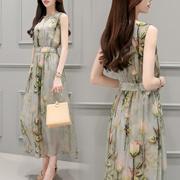 2016新款气质女装夏装韩版修身高腰长款连衣裙女雪纺无袖印花长裙