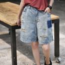 米可可 N1586 韩版磨色破洞百搭宽松直筒五分牛仔短裤女 2019夏