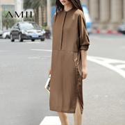 Amii[极简主义]春新纯色气质简约连肩长袖宽松大码中长连衣裙11681968