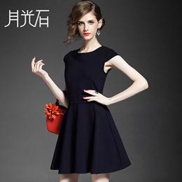 特价 99元 欧洲站 气质圆领包肩袖纯色弹力修身连衣裙5098