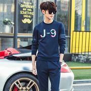 2016秋季韩版圆领男士卫衣套装简约个性青年健身休闲套装爆