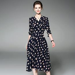 2017欧美新款时尚夏装中袖V领印花蝴修身中裙收腰显瘦大摆连衣裙