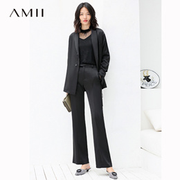 Amii极简欧洲站西装休闲裤套装女2018秋中长宽松翻领外套长裤