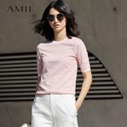 【特价】Amii[极简主义]2017女大码休闲棉质圆领拼接印花T恤11720191