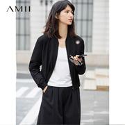 Amii[极简主义]2017春装镂空立领大码短款棒球长袖外套11740653