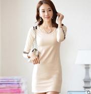 2017春装新款韩版长袖t恤女中长款打底衫大码修身显瘦连衣裙外穿