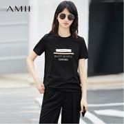 Amii[极简主义]春新品气质休闲修身显瘦百搭字母街头T恤11761863