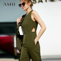 Amii极简ins帅气chic港味ulzzang连体裤2018夏装直筒镂空显瘦长裤