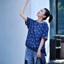 米可可 T6305 文艺复古圆领卷边短袖纯棉百搭碎花大T恤女2019夏