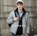 【HENNIN】男士超轻量羽绒服商务|休闲|百搭 鸭绒服 冬季新款 轻盈|温暖|简约|大方|基本款|内穿|外搭|米色|绿色|炭灰|黑色|4色可选|bactory|100%专柜正品 HEJD749M01