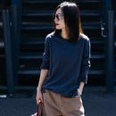 米可可 T6121 文艺大码圆领拼色长袖竹节棉基础款T恤女 2019春