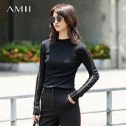 Amii[极简主义]2017秋装新品修身不规则衣摆丝光拼接毛衣11742952