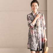 新品包邮 C6518A 文艺印花两侧开叉显瘦中长款长袖薄款衬衫女 春