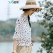 茵曼2017夏装新款个性印花立领七分袖雪纺衫女1872292471