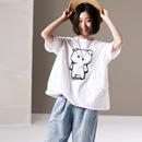 米可可 T1603 文艺大码圆领短袖百搭小熊印花纯棉T恤女 2019夏