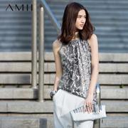 Amii[极简主义]2016夏装女烫金蛇纹印花雪纺圆领大码背心11640567