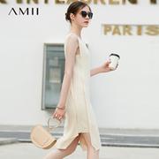 Amii极简街头ins港风无袖连衣裙2018夏季新针织开衩摆修身背心裙