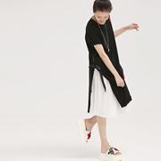 米可可 Q1852 韩版宽松拼色系带百褶短袖两件套连衣裙女 2018夏