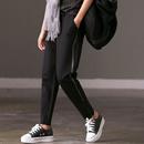 米可可   K1820A文艺宽松大码BF风侧条显瘦加绒哈伦裤小脚萝卜裤