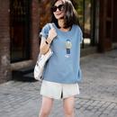 米可可 T3213 文艺大码女孩印花蓝色纯棉修身百搭短袖T恤女19夏