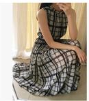 格子雪纺裙波西米亚长裙大摆连衣裙韩版立领无袖沙滩裙显瘦松紧腰