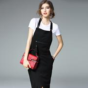 2017春夏新款时尚套装纯棉修身显瘦印字母短袖T恤+背带裙两件套女