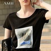 Amii极简欧洲站ins印花修身百搭白色棉T恤短袖女2018新款大码上衣