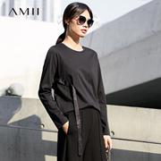 Amii[极简主义]简洁不凡飘带装饰圆领T恤女2018春宽松休闲上衣