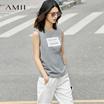 Amii[极简主义]2017夏季新款吊带打底大码宽松宽肩带无袖背心女