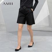 Amii[极简主义]2017夏新大码休闲棉氨宽松带腰带五分裤休闲短裤女