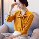 蝴蝶结斜领衬衫女长袖2017秋装新款韩版OL气质职业白色打底雪纺衫