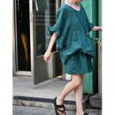米可可 U7105文艺花边宽松大版娃娃衫墨绿色棉麻短裤洋气套装女