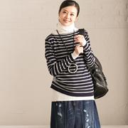 特●Z6622A 简约显瘦小喇叭袖不对称条纹针织衫女【米可可】