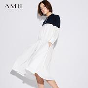 Amii[极简主义]秋装2017新款半高领撞色拼接绑带连衣裙女11743610