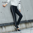 Amii[极简主义]修身打底裤冬装2017新款撞色条纹弹力打底长裤女