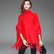 欧洲站2016秋季新款女装大码纯色气质高领流苏蝙蝠袖套头针织衫女