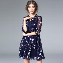 欧洲站2017春季新款女装欧美气质五分袖优雅显瘦A字连衣裙中裙女