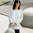 Amii[极简主义] 2017秋装新品宽松插肩袖撞色长袖棉弹T恤11734154