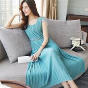 连衣裙女2018夏新款气质钉珠短袖雪纺度假长裙显瘦超仙蕾丝百褶裙