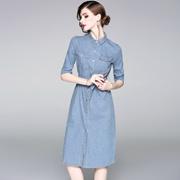 2018夏季欧美女装新款翻领中袖修身条纹开叉气质显瘦单排扣连衣裙