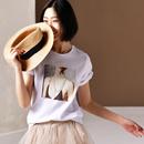 米可可 T6118 文艺大码百搭印花圆领短袖白色纯棉T恤女2019春夏