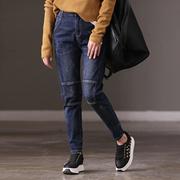 米可可 N6150B 通勤韩版宽松百搭工装裤潮流拼接显瘦牛仔裤女冬