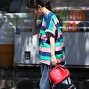 米可可 T9310 韩版宽松撞色条纹双兜纯棉百搭显瘦薄款T恤女夏新