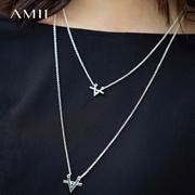 Amii[极简主义] 2017新款时尚简约气质字母双层项链首饰11774587