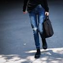 N7011 韩版洋气磨色破洞印花显瘦百搭低腰直筒牛仔裤女2019新款米可可