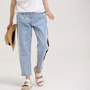 米可可 N2308 韩版宽松纯棉竖拼条九分直筒薄款牛仔裤女 2018夏