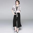 2018夏季欧美女装新款圆领荷叶袖修身显瘦雪纺衫+阔腿裤时尚套装