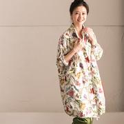 新品包邮 W6920B 甜美通勤纯棉印花大兜立领薄款抽绳风衣外套女