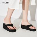 Amii[極簡主義]2017新品純色百搭坡跟防滑厚底夾腳人字拖11722815