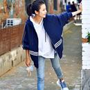 米可可 韩版连帽拉链蝙蝠袖减龄宽松大版运动休闲外套女2019秋装